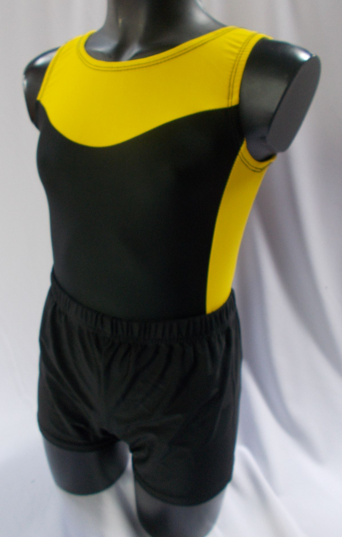 868433105 Black and Yellow Lycra Basics Leotard