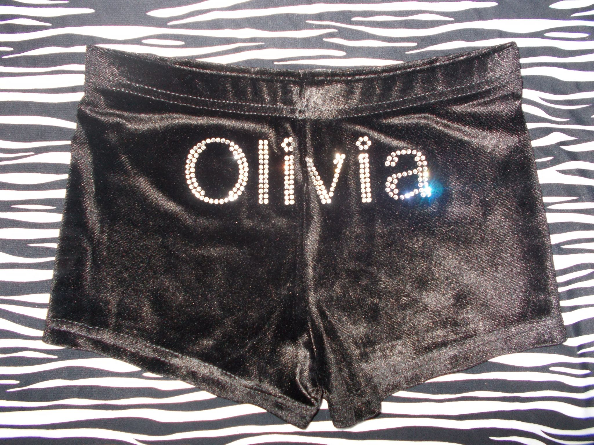 Personalised Velour Gymnastics Leotard shorts with Name in Rhinestones All Sizes